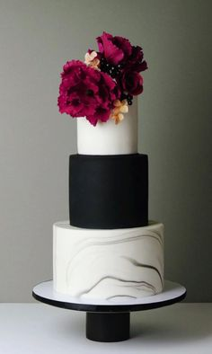 Modern Wedding Cakes Modern, stylish wedding cake, with black and white fondant, grey marbling and burgundy sugarflowers. By Crummb Cakes. Burgundy Wedding Cake, Black And White Wedding Cake, Black Wedding Cakes, Beautiful Wedding Cakes, Gorgeous Cakes, Cake Wedding, Fruit Wedding, Wedding Scene, Wedding Flowers