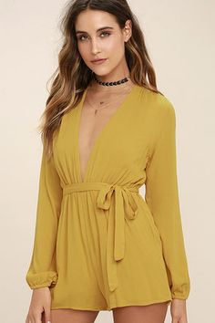 972c5b5c9c4 Feel free to express yourself in the Outspoken Golden Yellow Long Sleeve  Romper! Gauzy woven