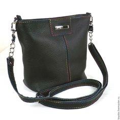 """Купить """"Палитра с украшением"""" черная кожаная сумка. - черный, однотонный, сумка ручной работы"""