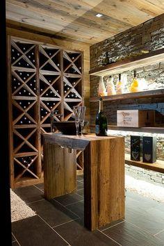 Aménagement cave à vins design par Chalets Bayrou