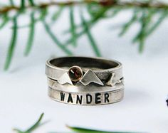 Mountain Stacking Ring with Stamped Ring Band and Citrine Sun