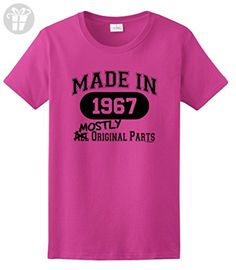 50th Birthday Party Supplies 50th Birthday Gift Made 1967 Mostly Original Parts Ladies T-Shirt Large Heliconia - Birthday shirts (*Amazon Partner-Link)