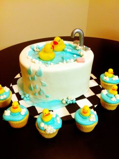 rubber duckie bathtub cake