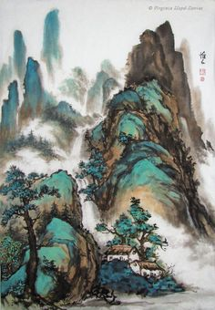 Chinese brush painting of mountains and housesYou can find Chinese painting and more on our website.Chinese brush painting of mountains and houses Japanese Ink Painting, Chinese Landscape Painting, Japanese Landscape, Chinese Painting, Landscape Art, Japanese Art, Landscape Paintings, Chinese Drawings, Art Asiatique
