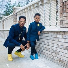 Custom Made Navy Blue Father And Son Matching Suits 2 Pieces Wedding Prom Dinner Suit For Men Casual man blazer terno masculino Daddy And Son, Dad Son, Father And Son, Black Dad, Black Fathers, Family Outfits, Boy Outfits, Formal Outfits, Father Son Matching Outfits
