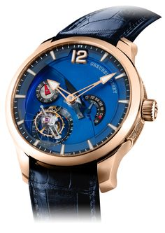 GREUBEL FORSEY Tourbillon 24 Secondes Contemporain, containing the caliber Tourbillon GF01c , with a 72-hour power reserve. The indicator is expressed in blocks of hours – 18, 36, 54 and 72 – on a black and white index that stands out against the blue background. (Best Power Reserve Indicators of 2013) - Hautetime