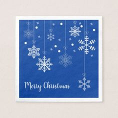Hanging Snowflakes Merry Xmas Blue Paper Napkins - home gifts ideas decor special unique custom individual customized individualized
