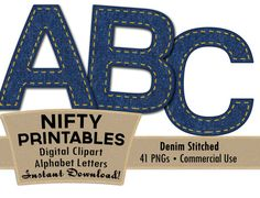 Denim Alphabet Letters Set - Navy Blue Denim Jeans Alpha - Gold Stitching Country Western Clip Art - Commercial Use DNM