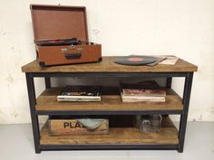 Rustic Industrial Media Console by AccardiCreativeWorks on Etsy, $720.00