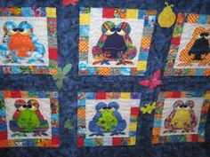 Cathy Tomm Quilts: Frog Quilt. I love the multicoloured frogs!
