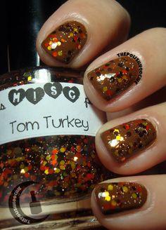 ThePolishHoochie: Thanksgiving with Tom Turkey from Trelly's Misc over China Glaze Mahogany Magic! Tom Turkey, China Glaze, My Nails, Toms, Thanksgiving, Polish, Magic, Vitreous Enamel, Thanksgiving Tree