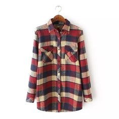 Female Popular Casual Flannel Checked Blouses  #Sale #Thank #You