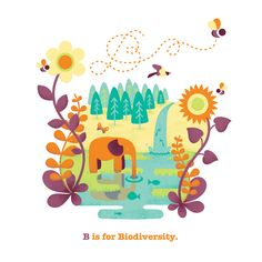B is for Biodiversity. ABConcerns: The Issues Alphabet A personal project about world issues in spot illustrations.  Katie Chandler: Illustrative Design