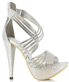 6ebdd222f958 5 Inch Mini Platform Sexy Sandals Glitter Rhinestone Sandals Strappy  Glamour Shoes Size  8 Colors  Silver Choose from  Black