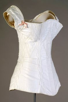 White cotton corded and stitched corset American, ca 1830s Accession number: KSUM 1995.17.1345. Kent State University Museum