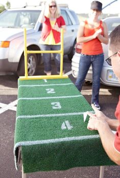 """DIY: """"Paper football"""" field to keep the kids occupied while you drink away!!  #UltimateTailgate #Fanatics"""