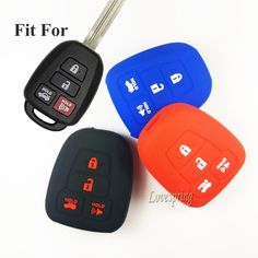 4 Buttons Silicone Rubber car key cover Case bag holder Keyless entry Shell Fob For TOYOTA Camry Avalon Corolla RAV4