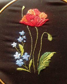 Маков цвет#бабушкинавышивка Заготовка для блузки#вышивкагладью #ручнаявышивка #ручнаяработа #цветыиптицы #embroideryart #embroidery Hand Embroidery Tutorial, Hand Embroidery Stitches, Learn Embroidery, Custom Embroidery, Embroidery Techniques, Embroidery Applique, Cross Stitch Embroidery, Embroidery Patterns, Diy And Crafts Sewing