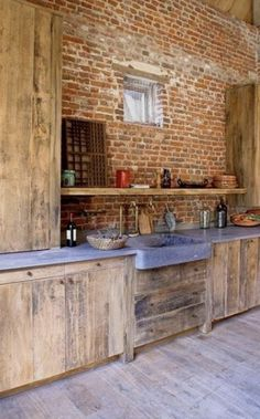 60 Best Rustic Country Style Kitchen Made by Wood that You Must See - Page 52 of 60 Hickory Kitchen Cabinets, Wooden Kitchen, Rustic Kitchen, Kitchen Appliances, Patio Interior, Kitchen Interior, Bright Kitchens, Cool Kitchens, Outdoor Kitchen Design