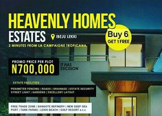 HOTTEST SELLING ESTATE AT THE MOMENT  Heavenly Homes Estates Ibeju Lekki is the hottest selling estate at the moment & you may want to know why . . .  Within a 15km drive from the Lekki Free Trade Zone & Dangote refinery location this estate is poised to enjoy the benefits of being in the center of an economic hub.  It is situated on a very accessible tarred road less than 1 minute from La Campagne Tropicana beach resort with access to the Power grip right in front of it. It possesses a Dry…