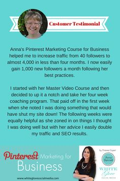 Pinterest Marketing for Business online video course and Pinterest coaching customer testimonial. CLICK HERE to learn more about the course created by Pinterest Expert Anna Bennett http://www.whiteglovesocialmedia.com/pinterest-expert-pinterest-courses/