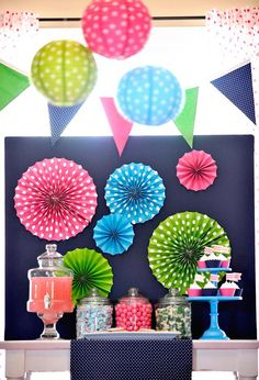 Slumber Party Dessert Table - love the fun pops of color!