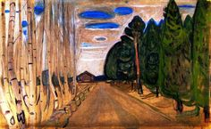 Edvard Munch - Landscape with a Road, 1901. Oil on cardboard, 50 x 80 cm. Private Collection