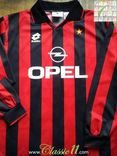 Relive AC Milan's 1994/1995 season with this vintage Lotto long sleeve home football shirt.