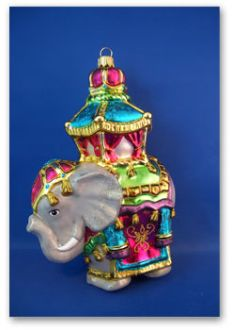 Hindu Elephant Blown Glass Christmas Ornament Made In Poland Unique Christmas Ornaments Vintage