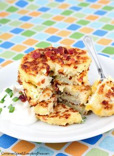Bacon Cheddar Cauliflower Fritters~ great healthier side dish for breakfast with an egg or a side dish.