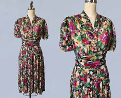 RESERVED 1930s 1940s Dress / Floral Silk Chiffon Late 30s