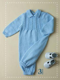 PATRONES GRATIS DE CROCHET: PELELE para bebe a dos agujas...Patrón gratis Free Knitting, Baby Knitting, Crochet Baby, Knitting Patterns, Knit Crochet, Baby Wearing, Crochet Clothes, Boy Outfits, Free Pattern