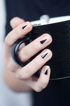 Black geometric nails.