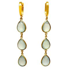 925 Sterling Silver & Gold Micron Dangling Earring With Pear Shaped Chalcedony #Articulate