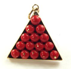 Vintage 9ct Gold Red Enamel Snooker Balls In Triangle