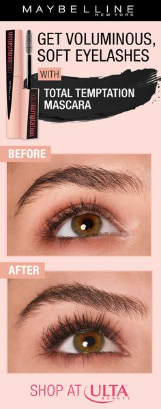 Get voluminous, natural lashes using NEW Maybelline Total Temptation mascara! This mascara is infused with coconut extract and will keep your lashes feeling soft - no clumpy, dry lashes! Shop on Ulta Beauty!