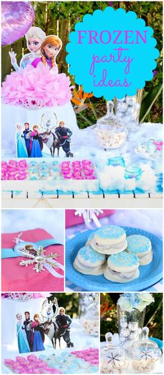 Here's a pink and blue Frozen party with fun treats and decorations! See more party planning ideas at CatchMyParty.com!