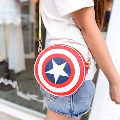 2016 Fashion Black Red Captain America Shield Pu Leather Round Handbags For Women Shoulder Bags New Style Crossbody Bag G0371-in Crossbody Bags from Luggage & Bags on Aliexpress.com | Alibaba Group