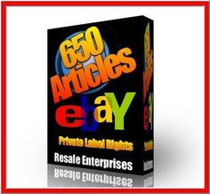 $4.89 - 650 eBay Articles with Private Label Rights (PLR) - FREE shipping - Massive Private Label Article Pack! 650 PLR articles on several topics about and online sales