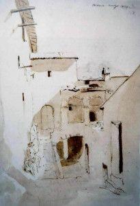 COMMUNITY ARTISTICA CULTURALE Google+ INVITO in Allegato SUBIACO SCORCI D'ARTE : IL PITTORE CARL BLECHEN (1798-1840Germania) A SUBIACO E NELLA VALLE DELL'ANIENE nel 1828-29 Blog informativo con foto-dipinti . Foto-Disegno :Vicolo a Cervara -  odierna Via S. Maria