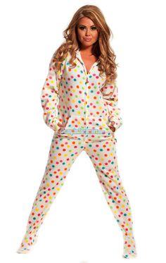Frosty Dots - Drop Seat Hoodie - Pajamas Footie PJs Onesies One Piece Adult Pajamas - JumpinJammerz.com