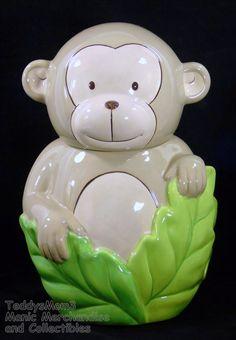 """Monkey Cookie Biscuit Jar Retired 2008 Target Home Green Leaves Ceramic 12"""" #HomebyTargetBrands"""