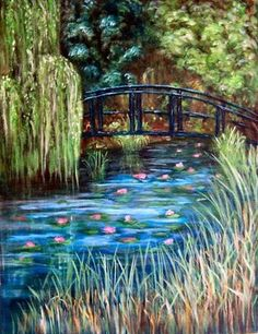 Monet Pond And Bridge Photo: This Photo was uploaded by liongrrrl. Find other Monet Pond And Bridge pictures and photos or upload your own with Photobuc. Claude Monet, Renoir, Monet Paintings, Landscape Paintings, Nature Paintings, Landscape Art, Van Gogh Pinturas, Step By Step Painting, Impressionist Paintings