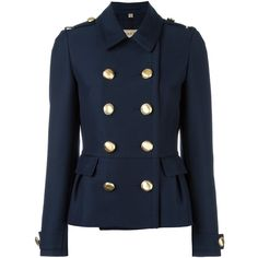 Burberry double breasted military jacket ($829) ❤ liked on Polyvore featuring outerwear, jackets, blue, burberry, field jacket, burberry jacket, military jacket and blue double breasted jacket
