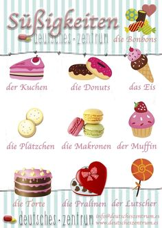 Süßigkeiten  Deutsch Wortschatz Grammatik German DAF Vocabulario Alemán