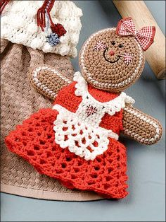 Gingerbread Doll pot holder or towel topper.  Have to make some of these next Christmas!