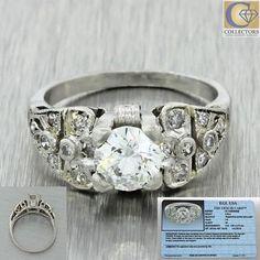 1930s Antique Art Deco Platinum 1.14ctw Diamond Cluster Engagement Ring EGL