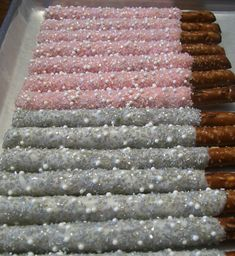 Silver and Pink with Pearls and Crystals ~ Chocolate Covered Pretzel Rods ~ Visit Marie Grahams on Etsy.com