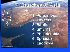 The seven churches mentioned in the Book of Revelation are all found in Turkey: Ephesus, Smyrna, Pergamum, Thyatira, Sardis, Philadelphia and Laodicea.