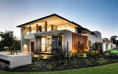 COOLBINIA RESIDENCE Built on a spacious corner block, the home boats three striking elevations from side to front. Office Fit Out, Exclusive Homes, Interiores Design, Perth, Luxury Homes, House Design, Mansions, House Styles, Columns